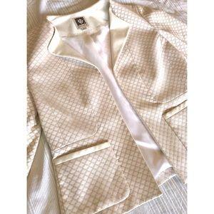 Cream Anne Klein Open Front Blazer 0